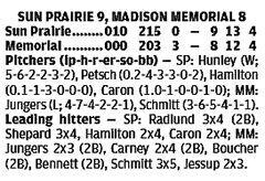 Sun Prairie 9, Madison Memorial 8