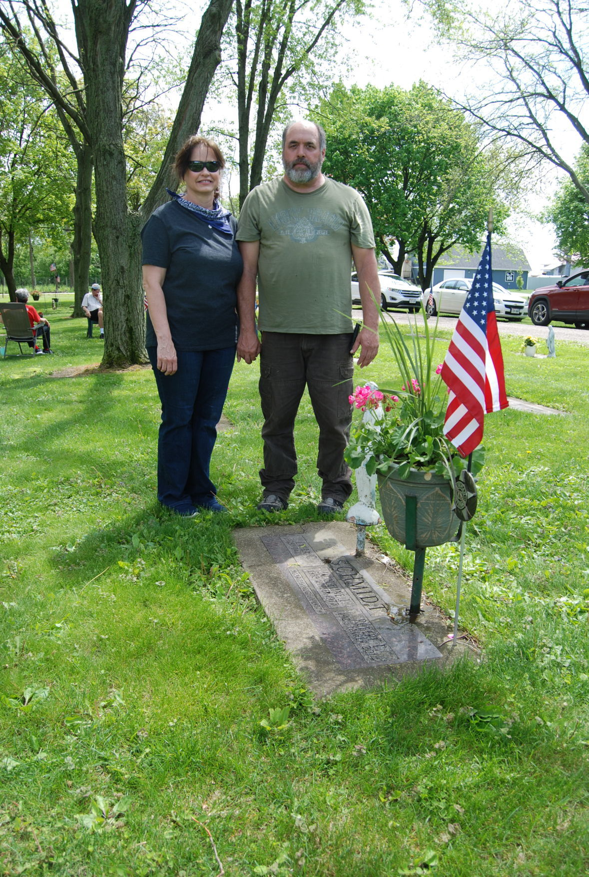 A veteran's grave in St. Mary Cemetery