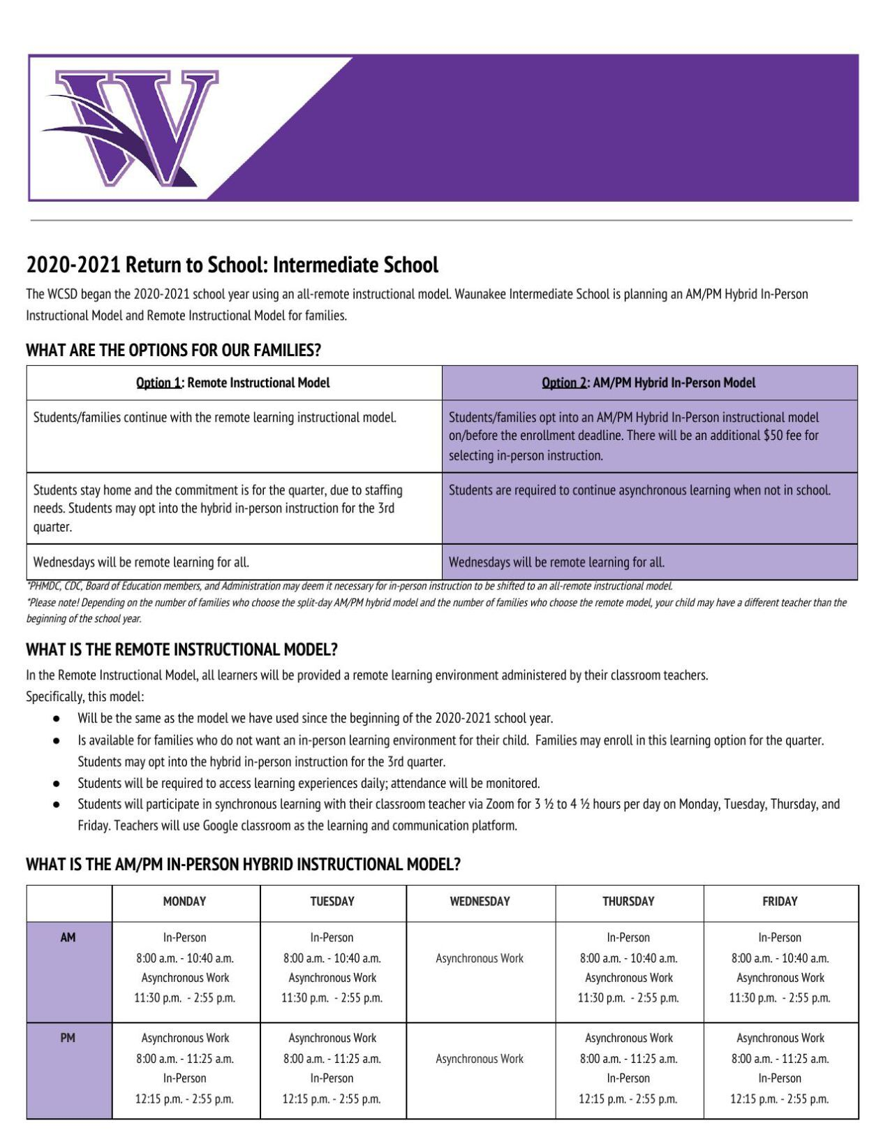 Intermediate school delivery models