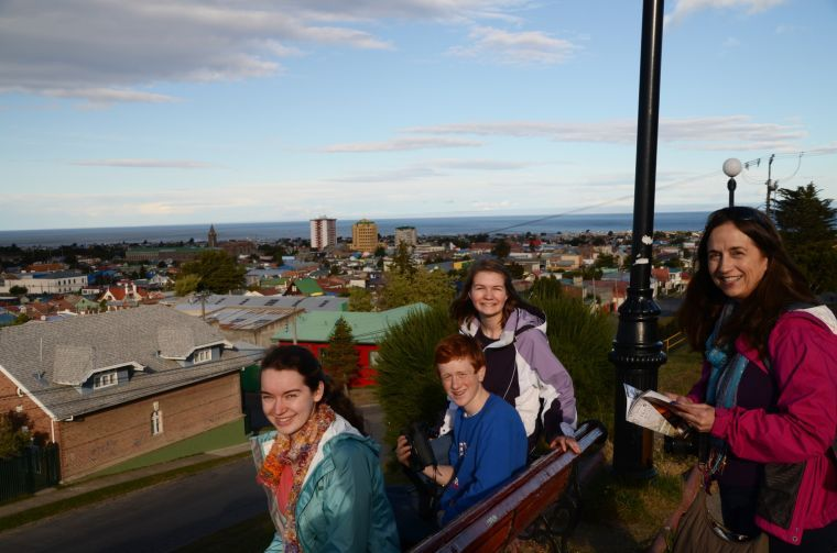 Enjoying the view of Punta Arenas from a hilltop