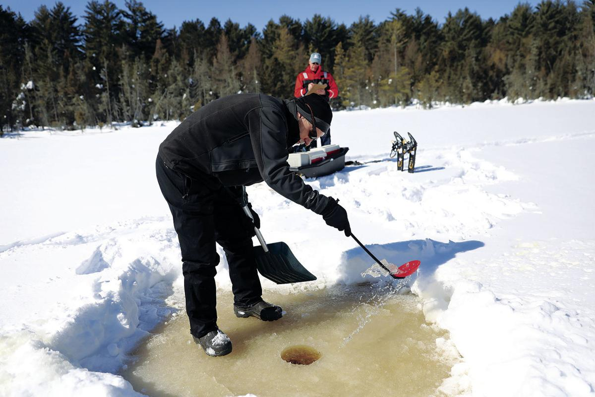 Clearing an ice hole