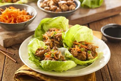 Healthy Asian chicken lettuce wrap