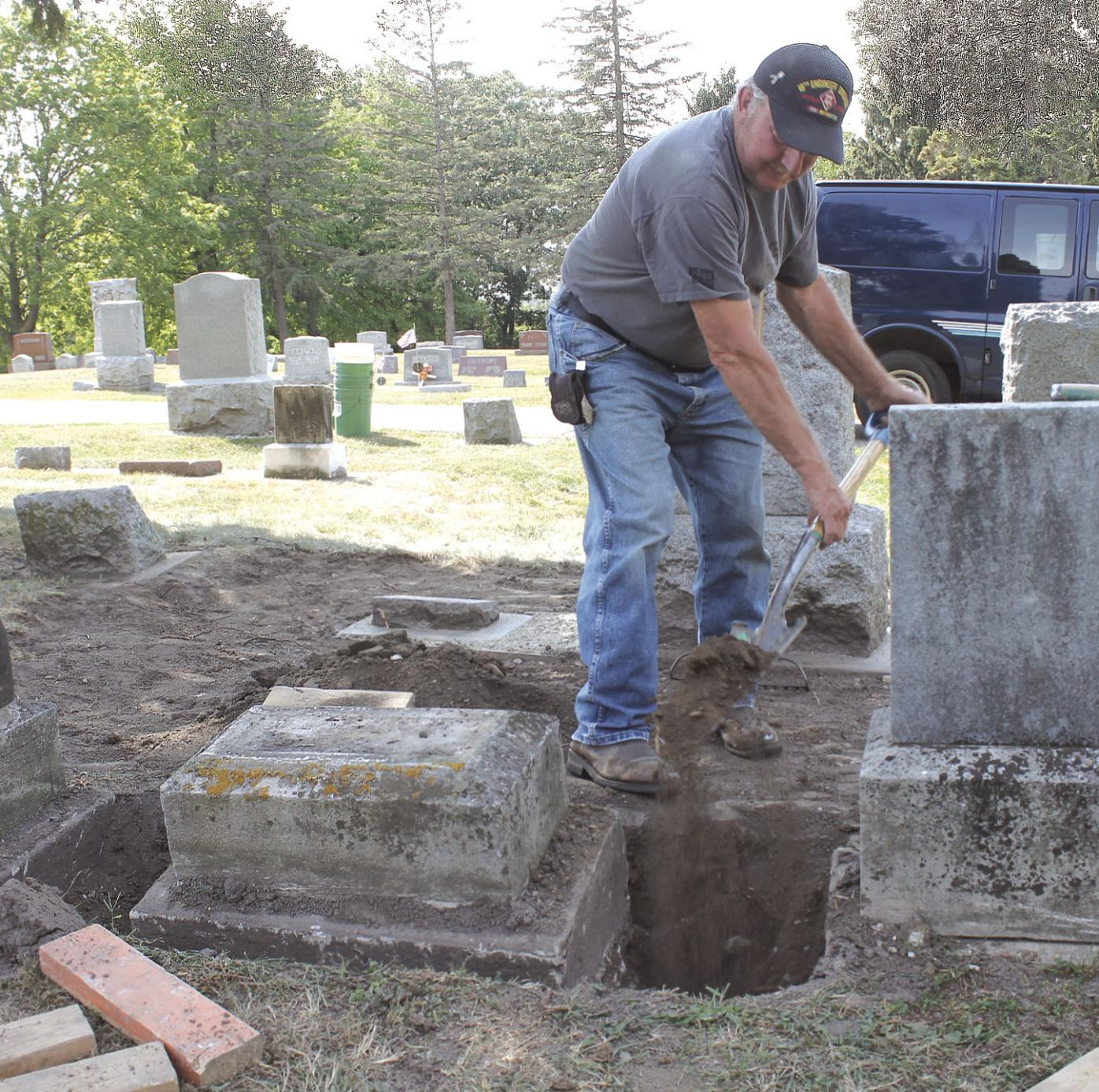 Raising the headstone