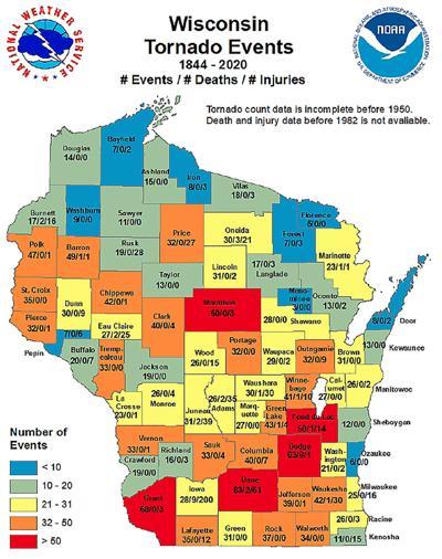 Wisconsin Tornado Events 1844-2020