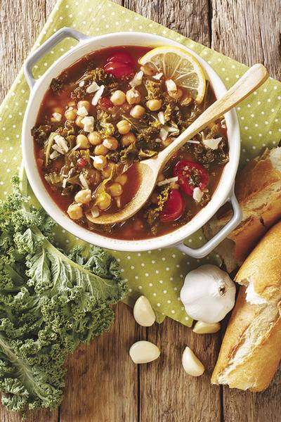 Stewed kale cabbage with chickpeas and lentils