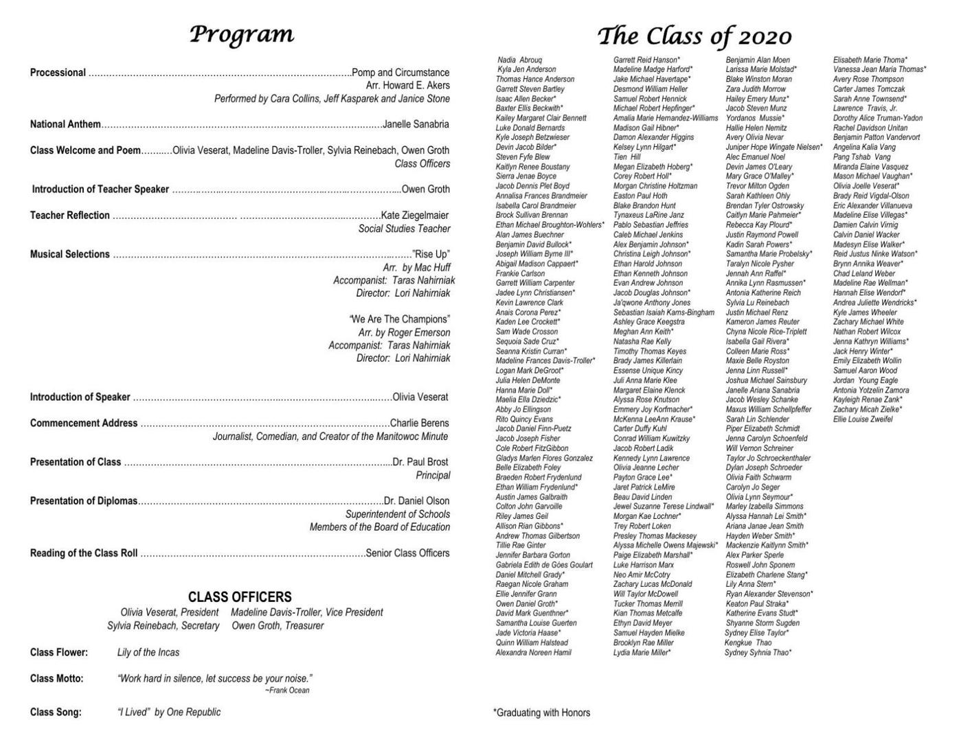 Monona Grove High School Commencement Program