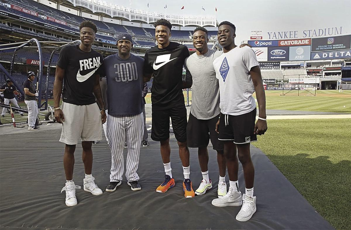 Giannis and three of his brothers at Yankee Stadium