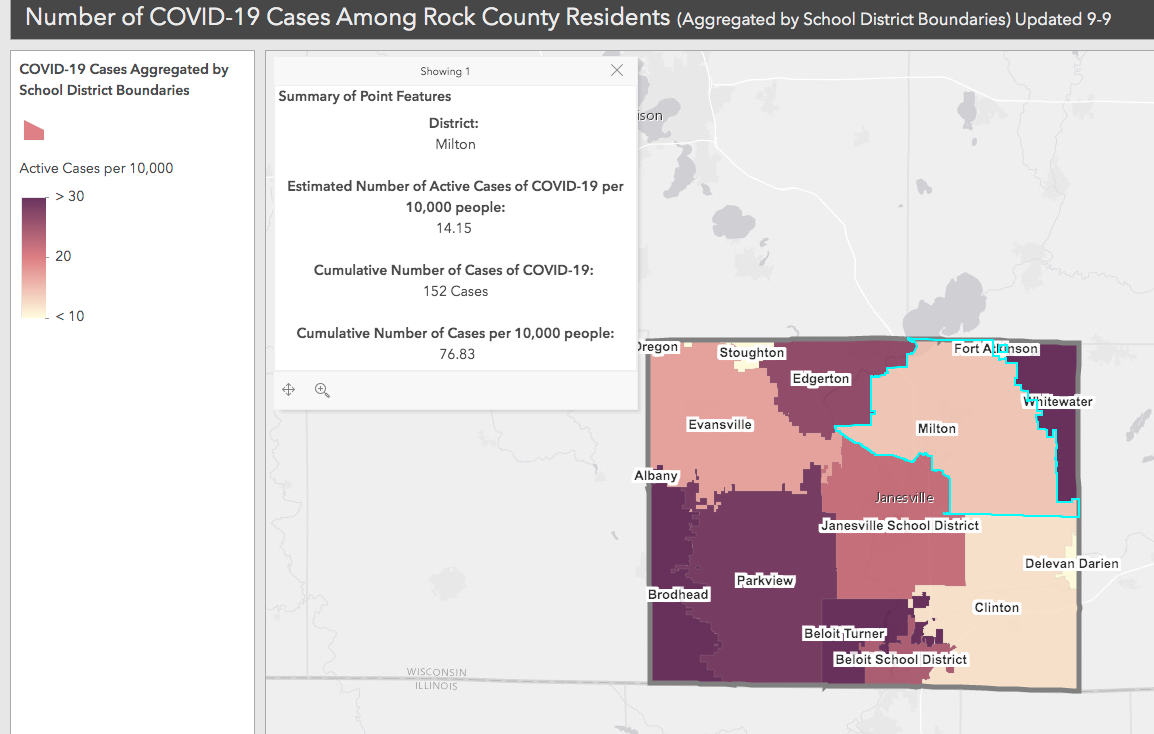 COVID-19 cases by school district