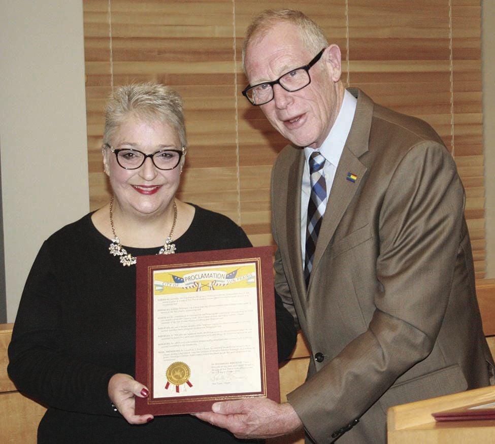 Amy Reininger McCutcheon and Mayor Paul Esser (2019)