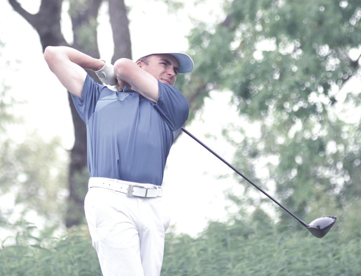 Lukas Heckmann hits a drive