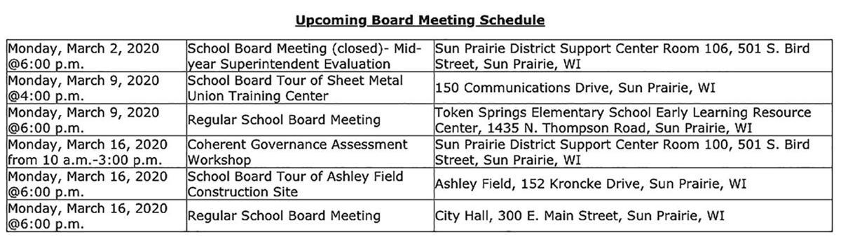 Upcoming Sun Prairie School Board meeting schedule
