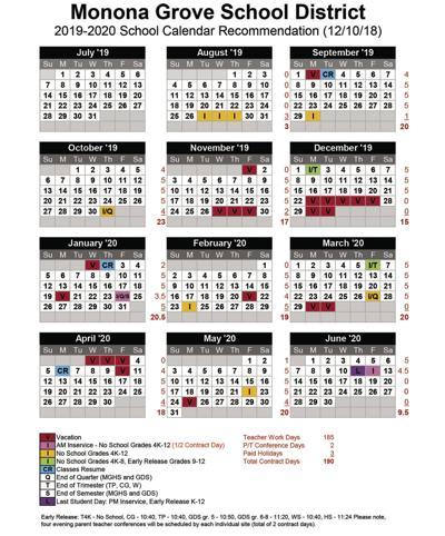 2019 20 school calendar adopted | Monona / Cottage Grove Herald