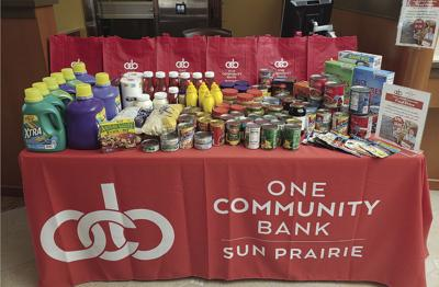 One Community Bank Food Drive items
