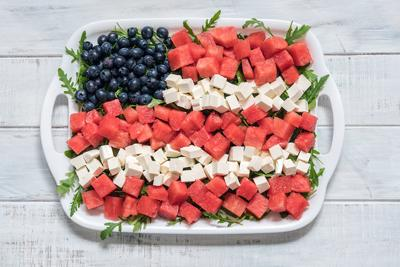 Patriotic American flag salad with blueberry, watermelon and feta