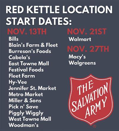 2020 Salvation Army of Dane County Red Kettle Locations