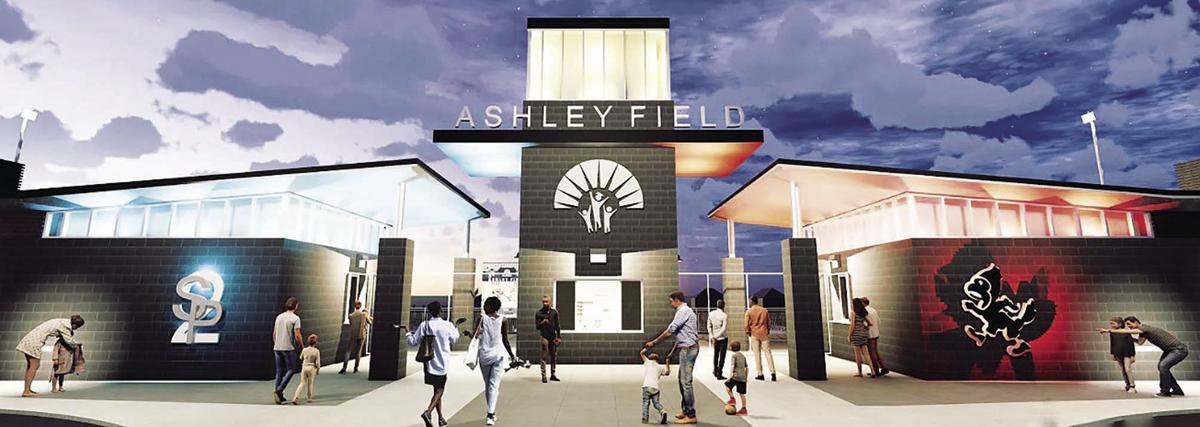 Ashley Field entry gate (2019)