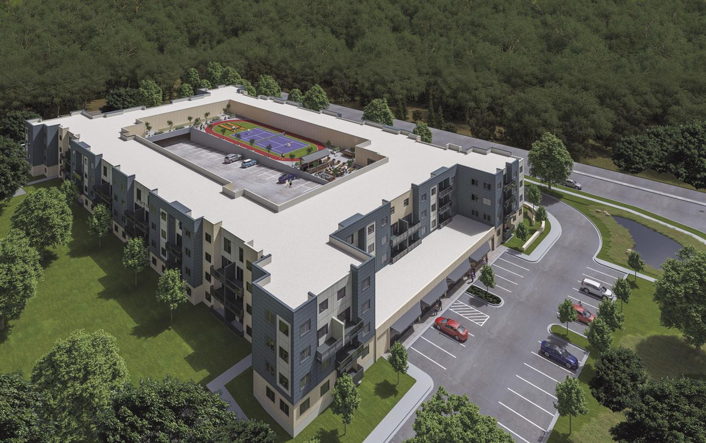 Aerial rendering for Cottage Grove Commons