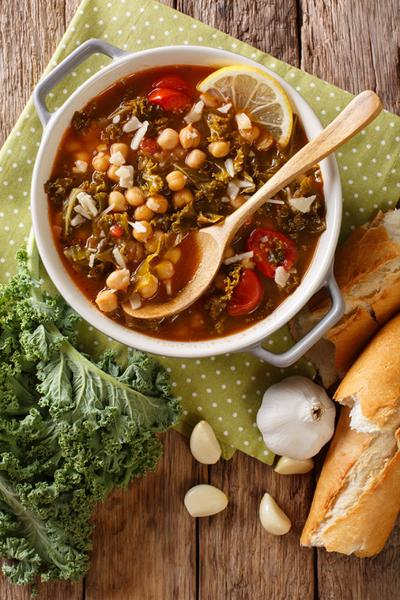 Stewed kale cabbage with chickpeas and vegetables