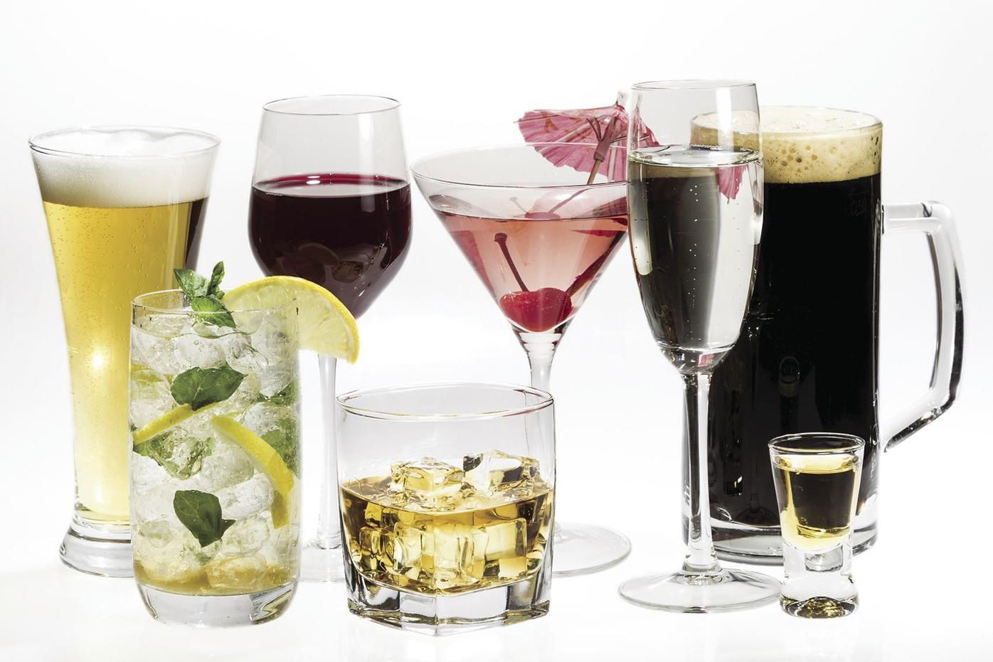 Different kinds of booze in alcoholic beverages