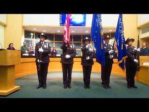 SPPD Color Guard at Council Meeting -- 3-6-2018