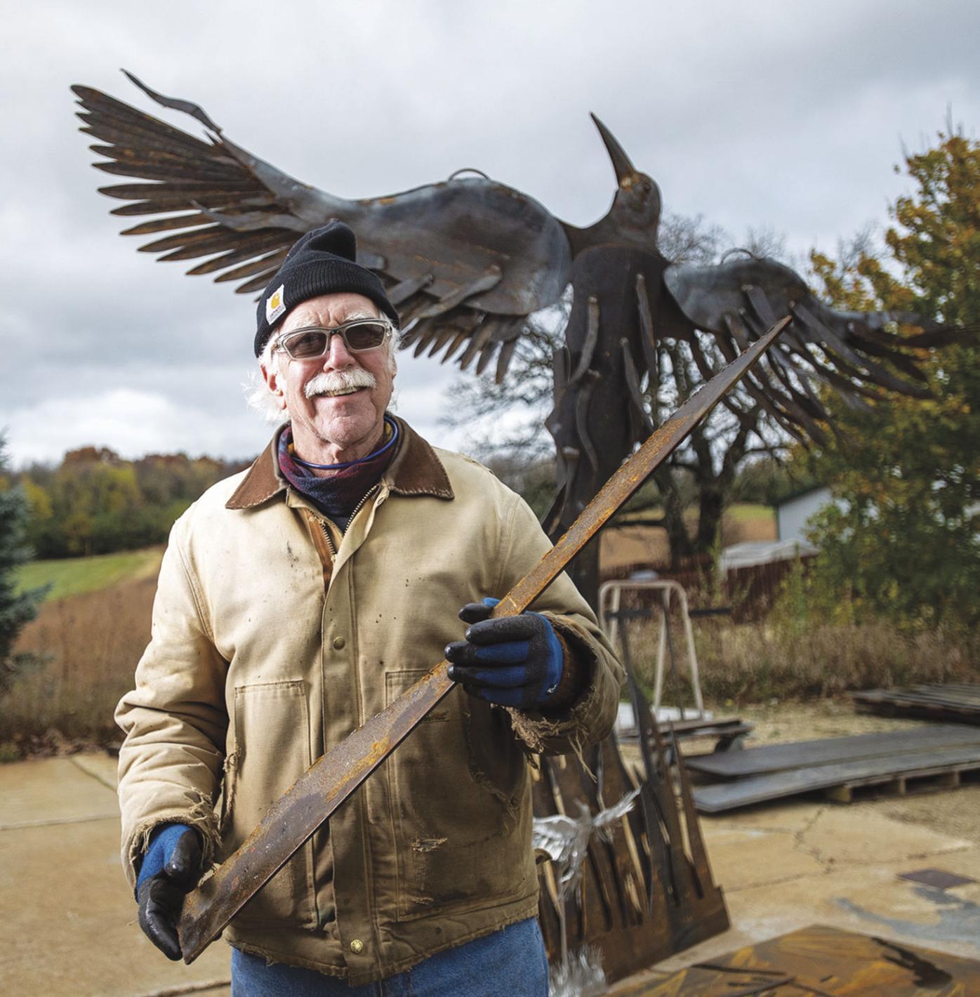 Don Schmidt and sculpture