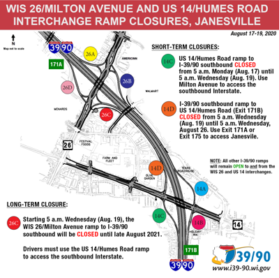 Upcoming ramp closures at the WIS 26 and US 14 interchanges