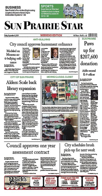 Sun Prairie Star Sept. 6, 2019 front page