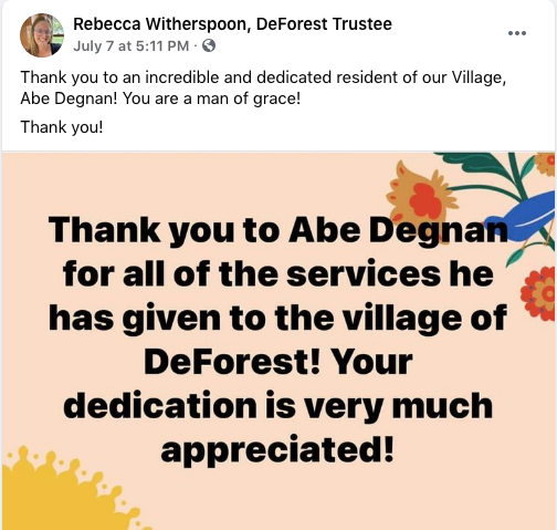 Rebecca Witherspoon Degnan thank you post