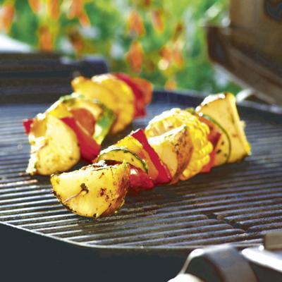 Patriotic grilled potato kabobs