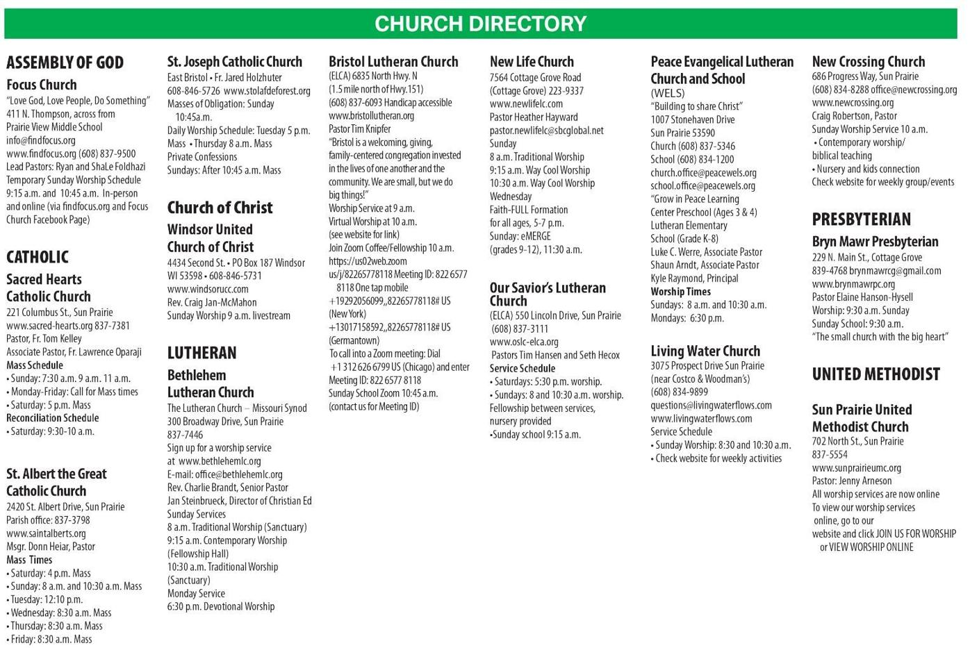 Sun Prairie church directory