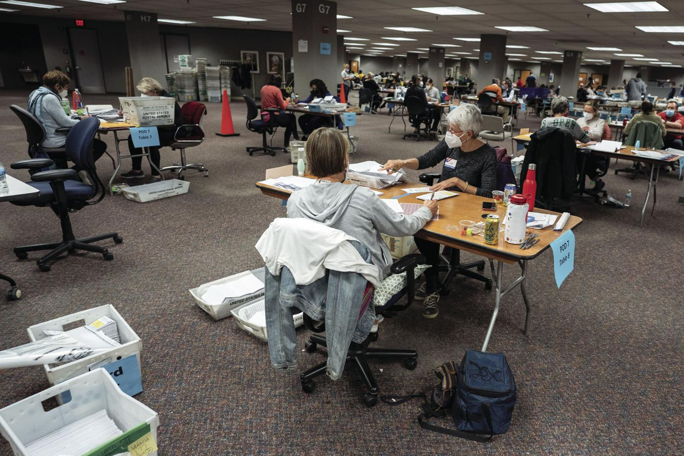 Election workers at Milwaukee Central Count