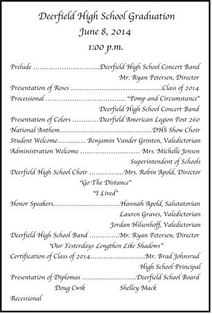 Deerfield Graduation Program  Hometown News Lp Home