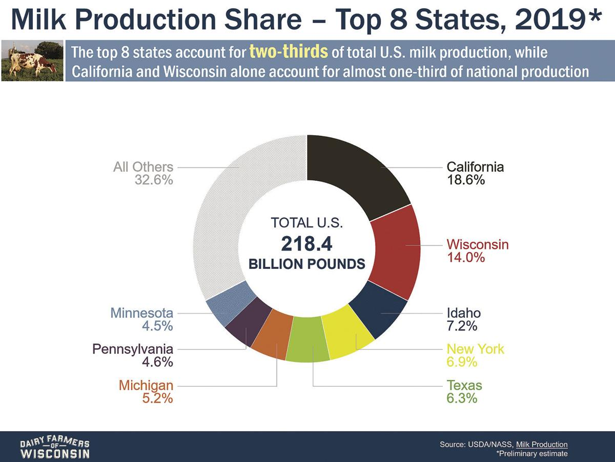 Milk Production Share for the Top 8 U.S. States (2019)