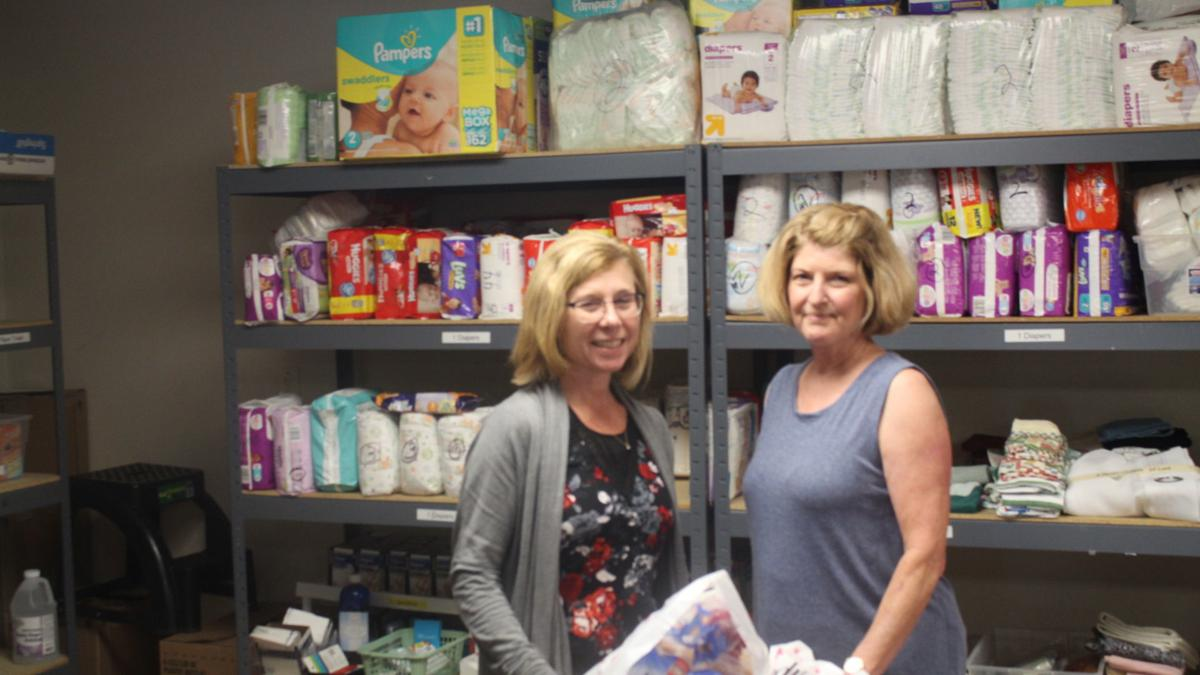 Reach Out Lodi director Mary Wilkes and volunteer Linda Maier