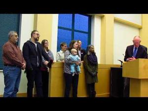 Mayor presents proclamation via iPad -- 4-3-2018