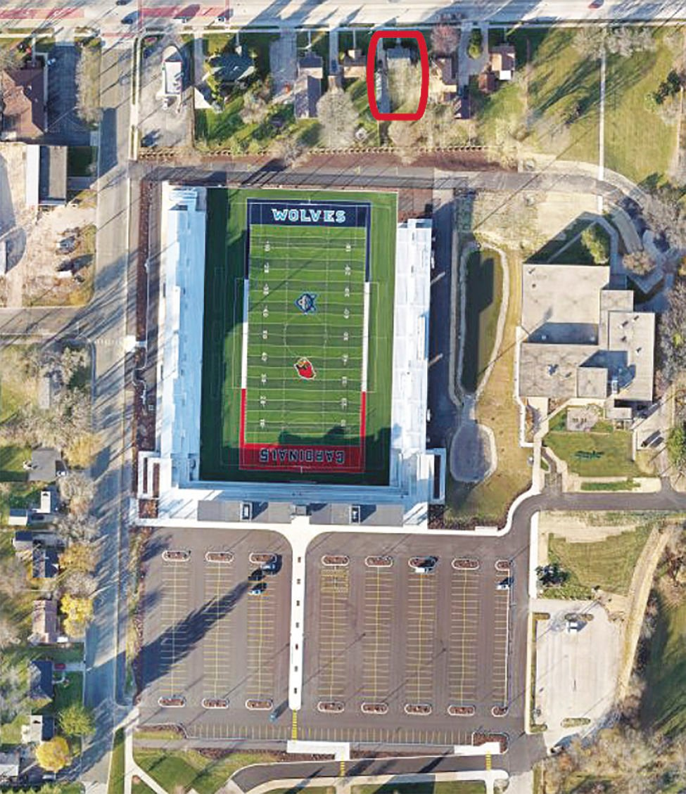 317 West Main Street location in relation to Bank of Sun Prairie Stadium at Ashley Field