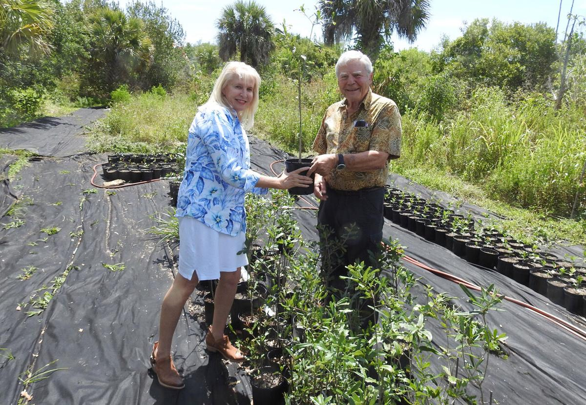 County Commissioner Laura Moss and Dr. Richard Baker with free trees