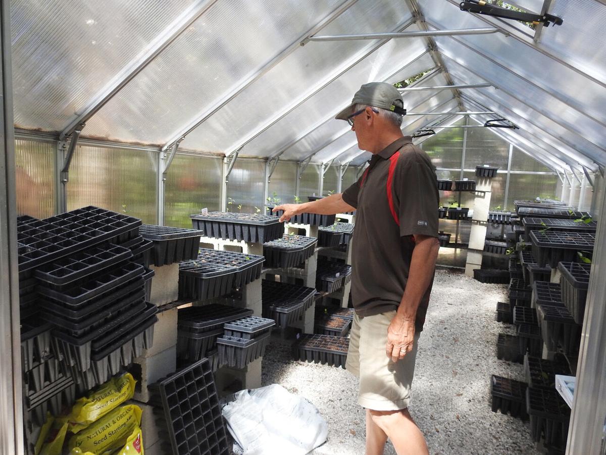 Pelican Island Audubon volunteers show the greenhouse they built