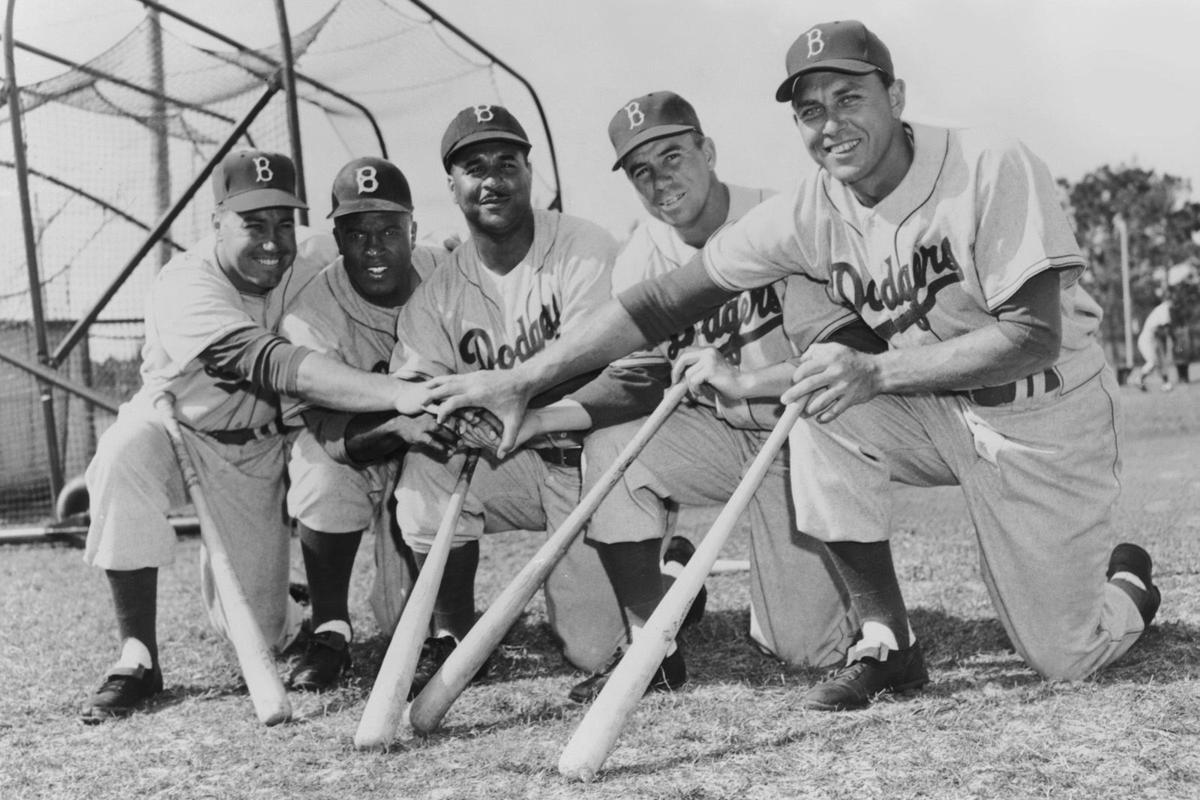 Brooklyn Dodgers at Dodgertown, Duke Snyder, Jackie Robinson, Roy Campanella, PeeWee Reese, and Gil Hodges