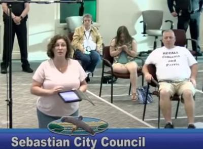 Former Sebastian Police Chief Michelle Morris addresses City Council