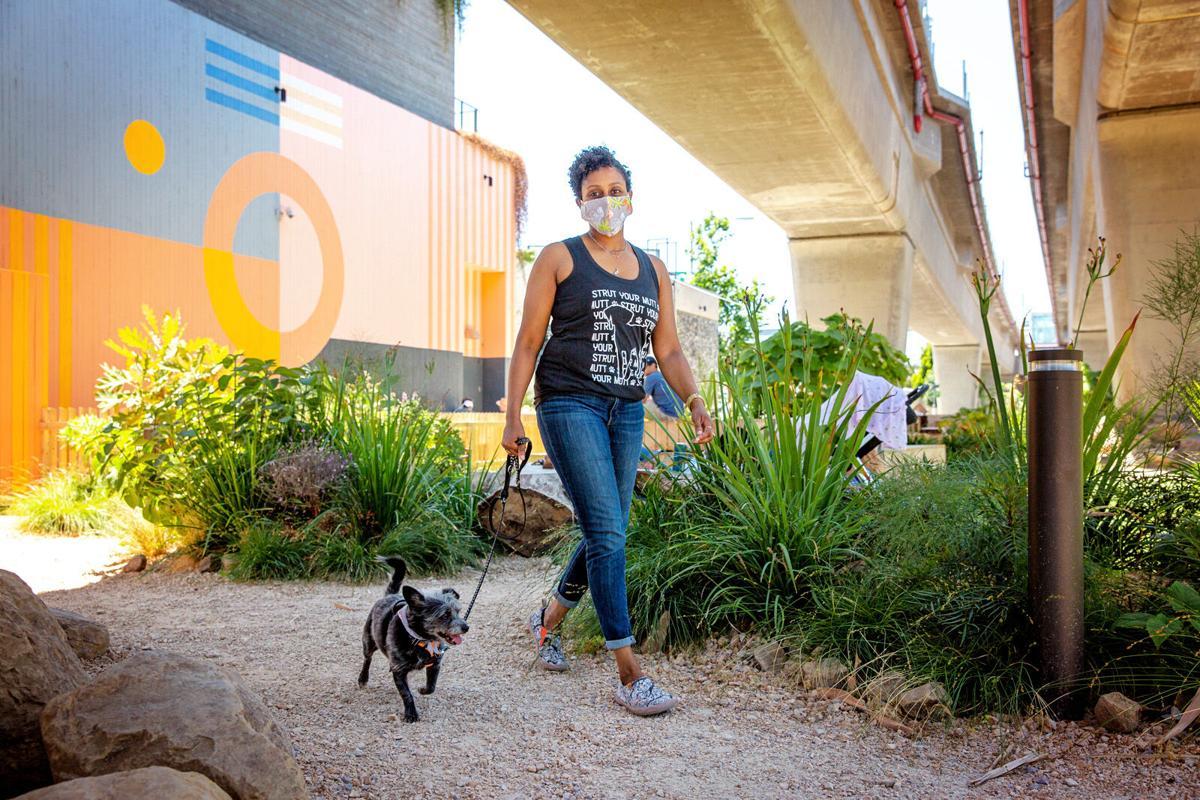 Walk dog for exercise