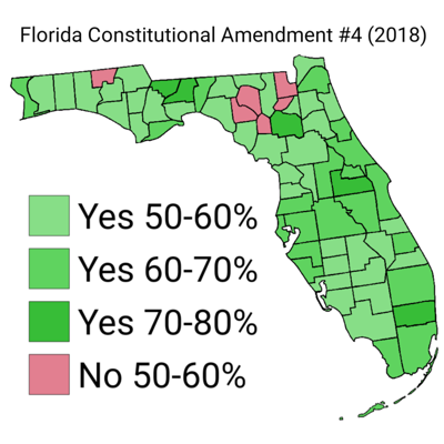 Florida Amend. 4 voting by county