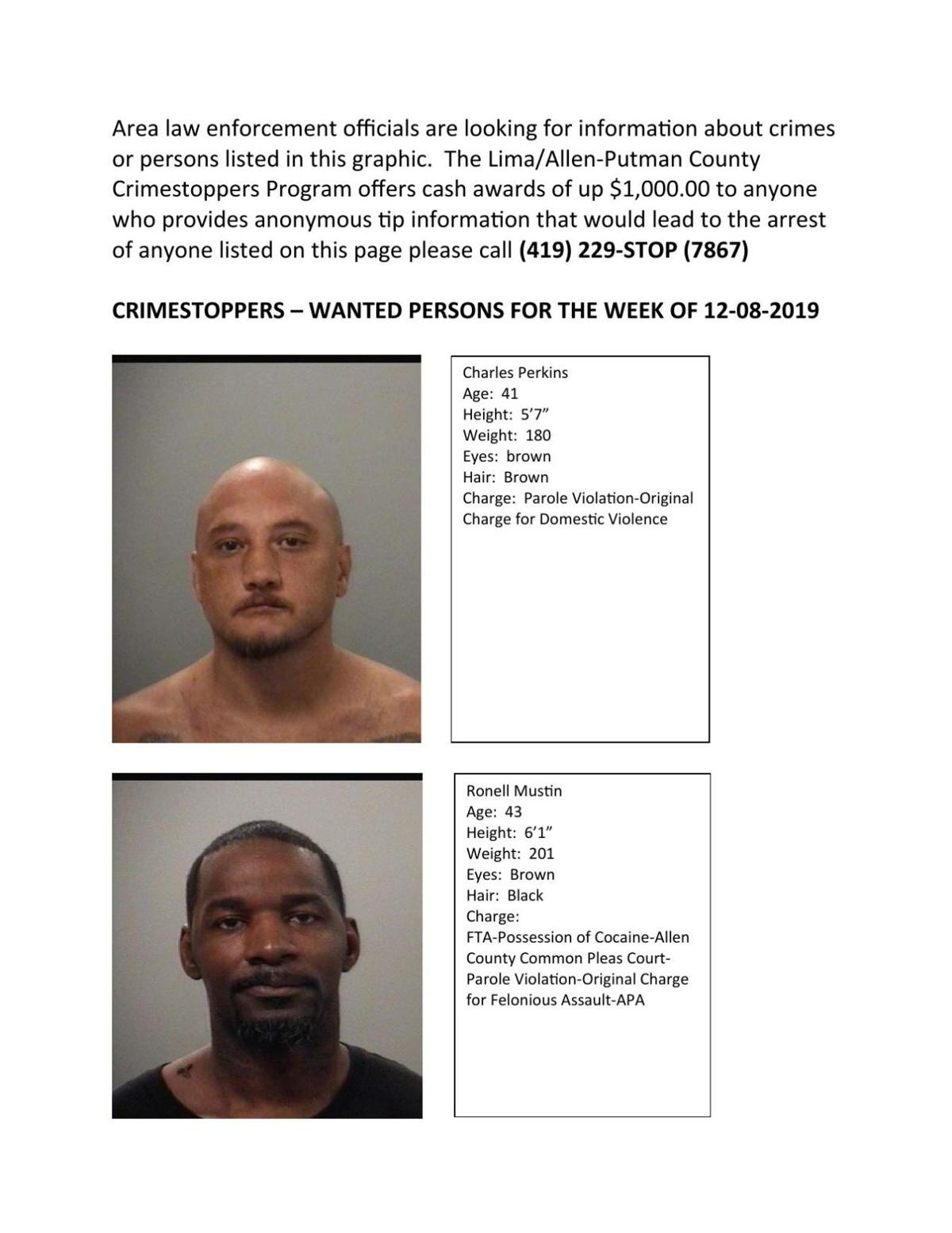 Crimestoppers – Wanted List for the week of 12-08-2019