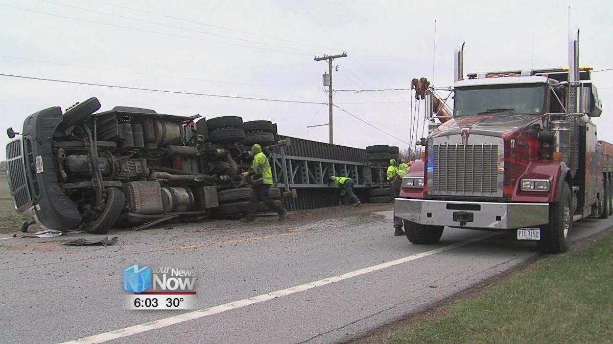 Semi-truck overturns on State Route 81