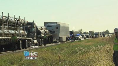 Four semis and a pickup truck involved in a crash on I-75