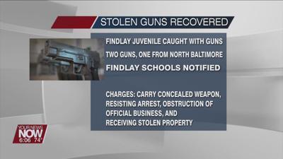 Juvenile caught with stolen handgun at Findlay restaurant