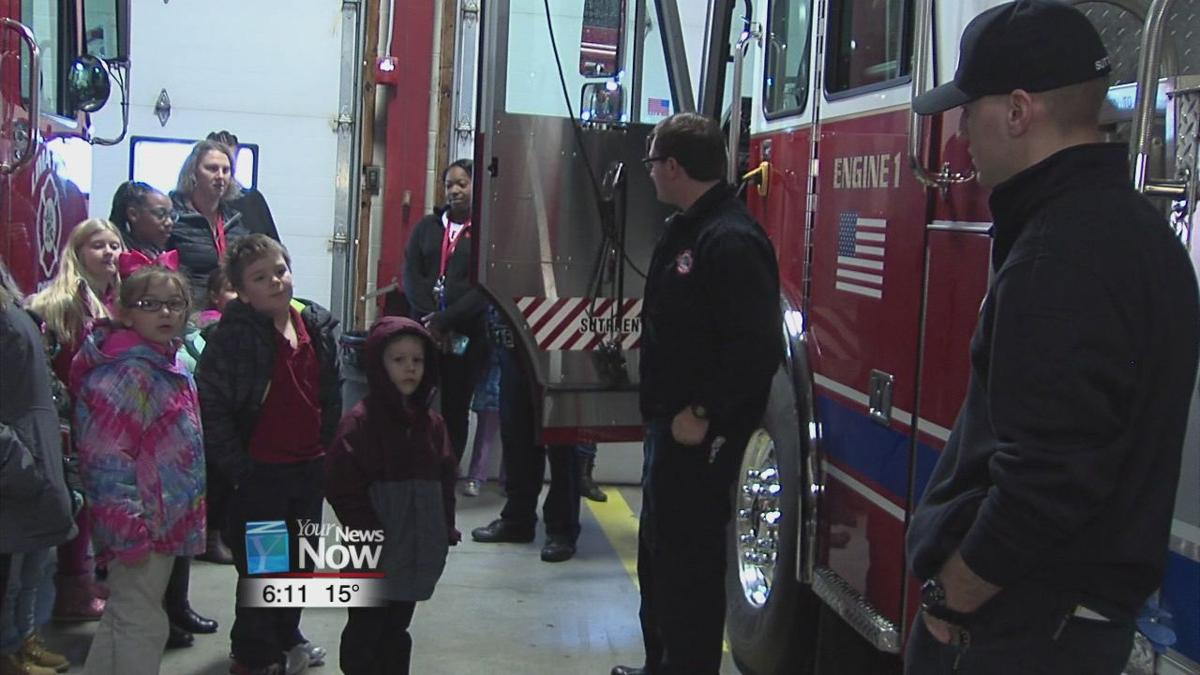 Lima Firefighters getting a little love from Lima City School children on Valentine's Day