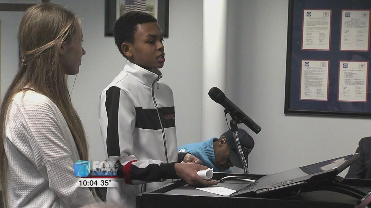 Eighth grade students present project to Lima City Council
