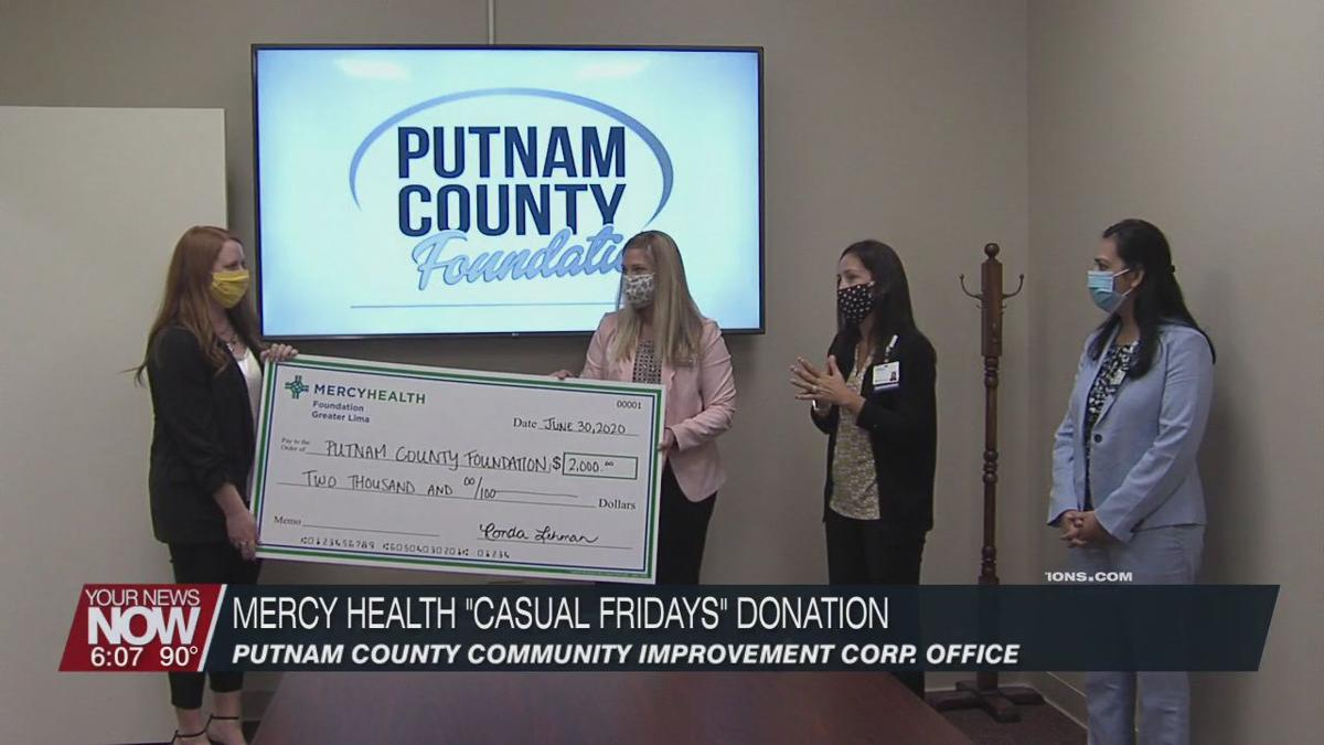 """Mercy Health-St. Rita's donates """"Casual Friday"""" funds to Putnam County Foundation"""