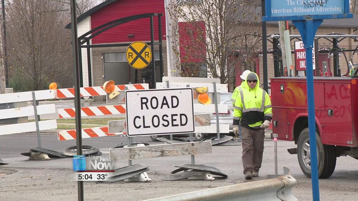 Bellefontaine Ave. closed at Elm St. to start roundabout construction